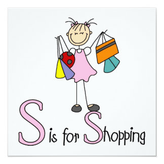 S is for Shopping 13 Cm X 13 Cm Square Invitation Card