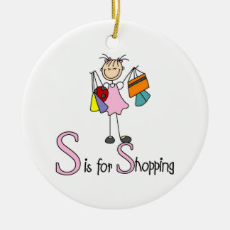 S is for Shopping Christmas Ornament