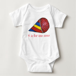 S is for Sno Cone Red Cherry Ice Snocone Alphabet Baby Bodysuit