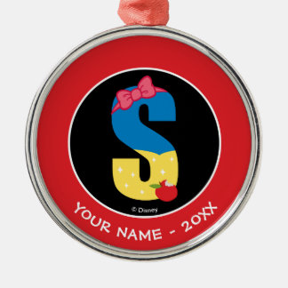 S is for Snow White   Add Your Name Christmas Ornament