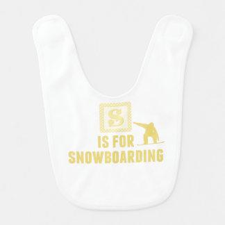 S Is For Snowboarding Baby Bibs