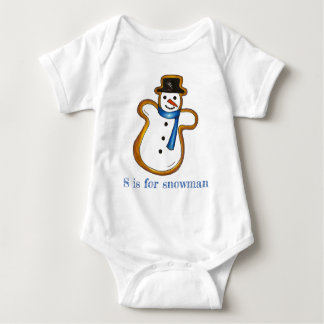 S is for Snowman Snow Man Winter Christmas Holiday Baby Bodysuit