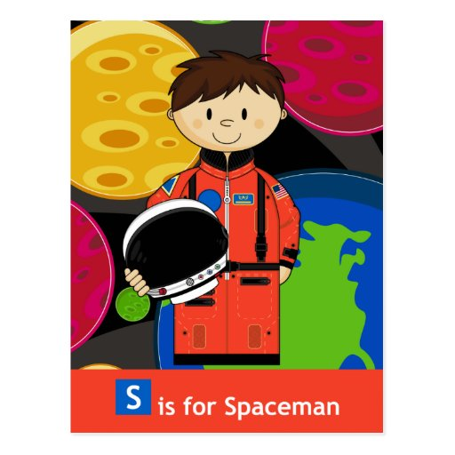 S is for Spaceman with Planets Postcard