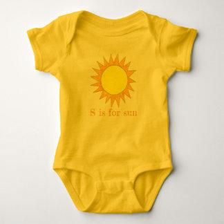 S is for Sun Yellow Summer Sunny Rays Sunshine Baby Bodysuit