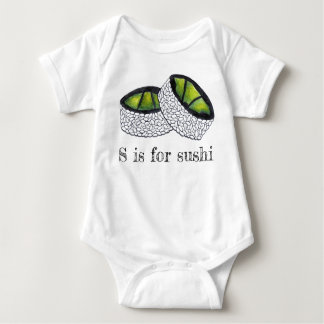 S is for Sushi Japanese Food Avocado Roll Food ABC Baby Bodysuit