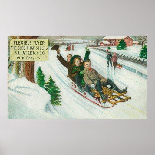 S L Allen & Co Flexible Flyer Sled Poster