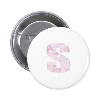 S - Low Poly Triangles - Neutral Pink Purple Gray 6 Cm Round Badge