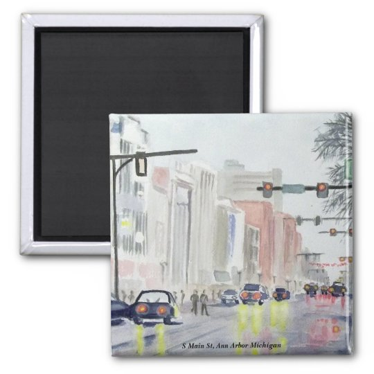 S Main St, Ann Arbor Michigan Square Magnet
