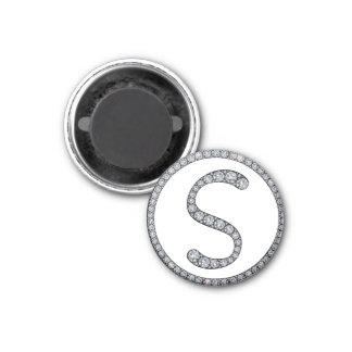 S monogram bling magnet