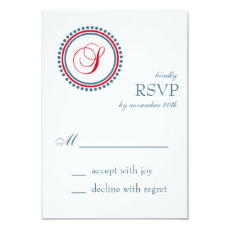 "S Monogram Dot Circle RSVP Cards (Red / Blue) 3.5"" X 5"" Invitation Card"