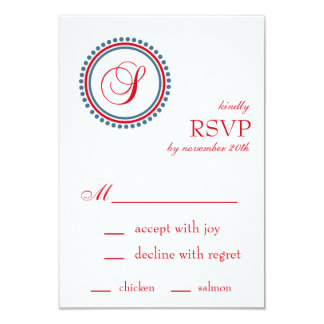 "S Monogram Dot Circle RSVP Cards (Red / Blue) 3.5"" X 5"" Invitation Card"