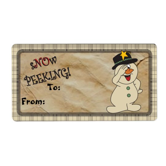 "S""no""w Peeking Snowman Gift Tags   Christmas Shipping Label"