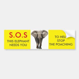 S.O.S Elephant Bumper Sticker