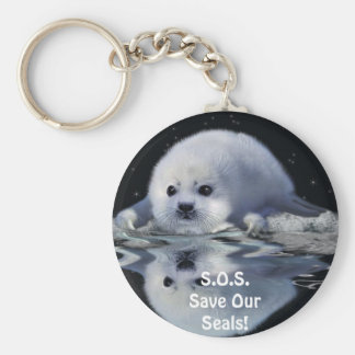 S.O.S. SAVE OUR HARP SEALS KEY CHAINS