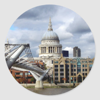 S Paul's Cathedral-Millennium Bridge-London Round Stickers
