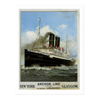 S.S. Caledonia - New York to and from Glasgow Postcard