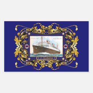 S.S. Manhattan Vintage Steamship Ship Rectangular Sticker
