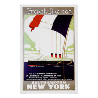 S.S. Paris French Line CGT Vintage Ship Ad Poster