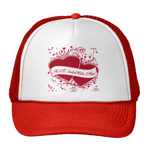 S.W.A.K. Sealed With A Kiss! Red Hearts Mesh Hat