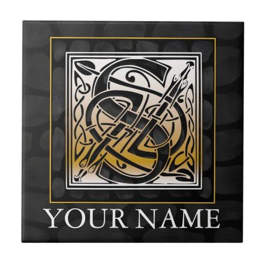 "S ""Your Name"" Celtic Black Stone Monogram Tile"
