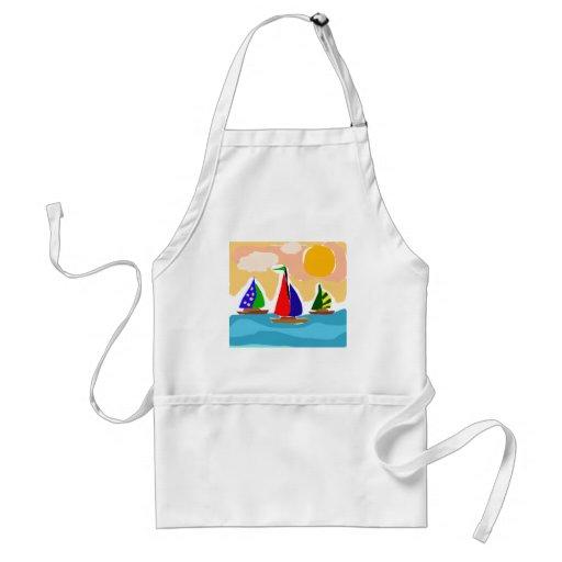 SA- Colorful Sailboat Primitive Art Apron