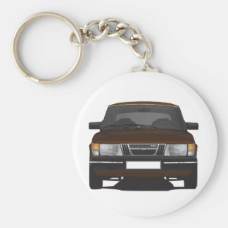 Saab 900 turbo (brown) basic round button key ring