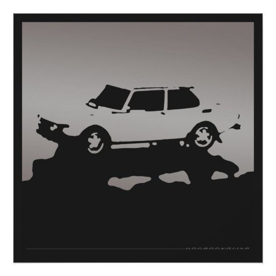 Saab 99 EMS - Silver grey on charcoal black poster