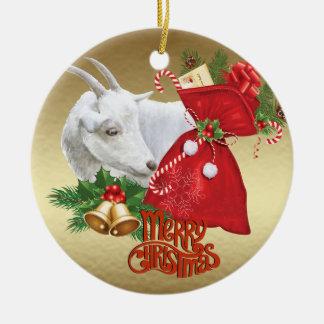 Saanen Christmas  Goat With Holiday Spirit Christmas Ornament
