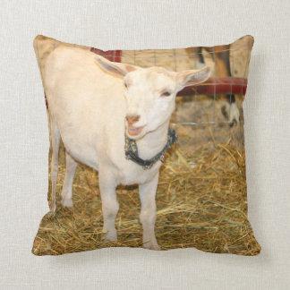Saanen doeling goat mouth open cushion