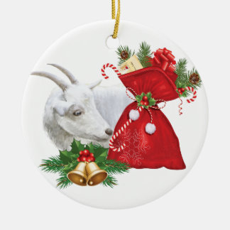 Saanen Goat With Holiday Spirit Christmas Ornament