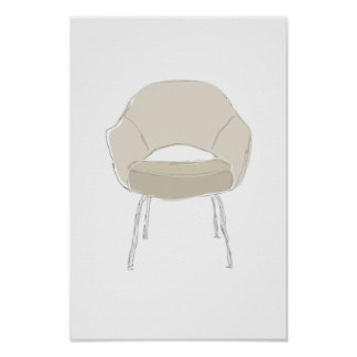 Saarinen S series chair scribble vector Poster