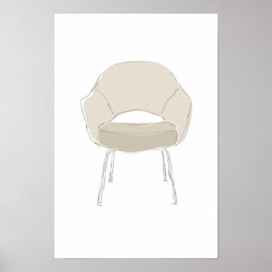 Saarinen S series chair scribble vector Poster
