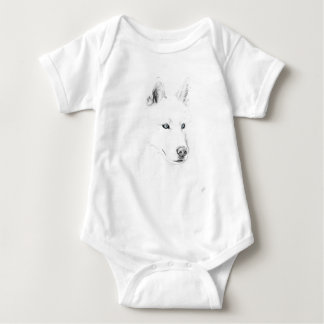 Saber A Siberian Husky Drawing Art Blue Eyes Baby Bodysuit