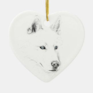 Saber A Siberian Husky Drawing Art Blue Eyes Christmas Ornament