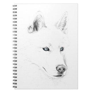 Saber A Siberian Husky Drawing Art Blue Eyes Spiral Notebook