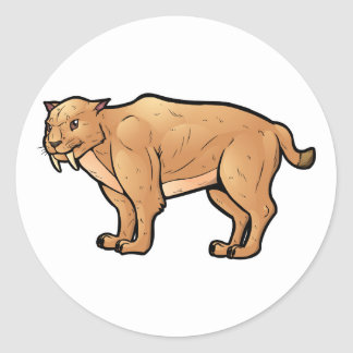 Saber Toothed Cat Round Sticker
