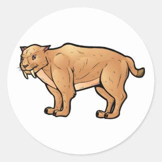 Saber Toothed Cat Round Sticker