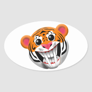 saber-toothed tiger oval sticker