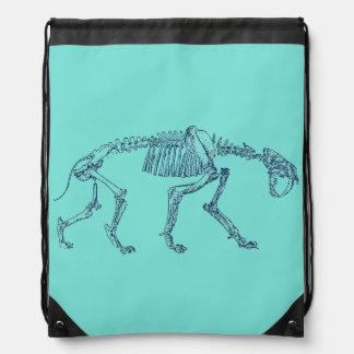 Saber Toothed Tiger Skeleton Drawstring Backpack