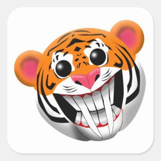 saber-toothed tiger square sticker