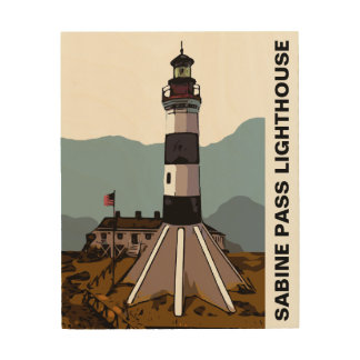 SABINE PASS LIGHTHOUSE WOOD WALL ART