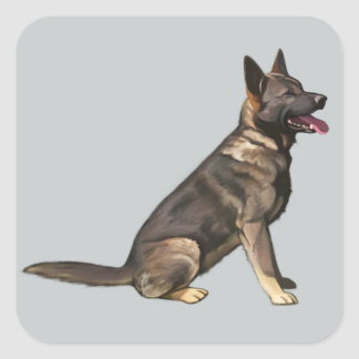 Sable German Shepherd Dog Square Stickers