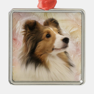 Sable Sheltie face Christmas Ornament