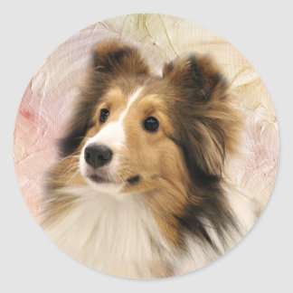 Sable Sheltie face Classic Round Sticker