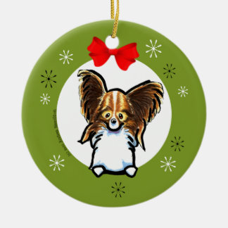 Sable White Papillon Christmas Classic Christmas Ornament