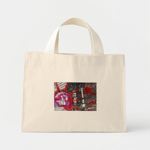 sac rouge design usa new york statue liberté mini tote bag