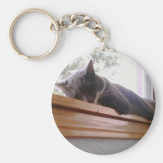 Sacha the cat sleeping keychain