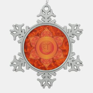 Sacral Chakra Pewter Snowflake Ornament