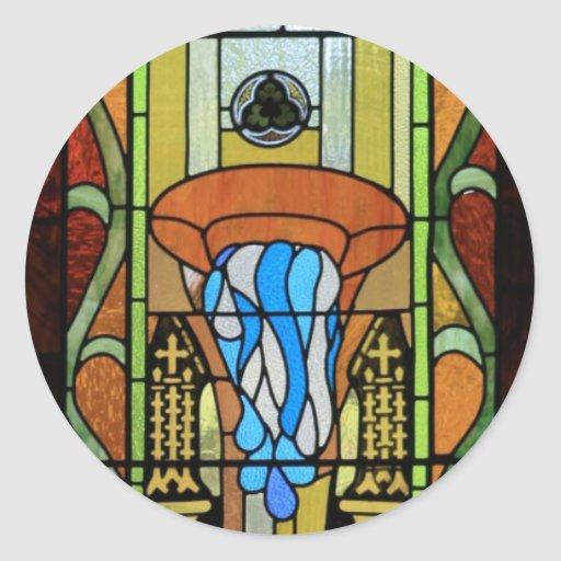 Sacrament of Baptism Stained Glass Art Round Stickers