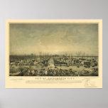 Sacramento, CA Panoramic Map - 1850 Poster